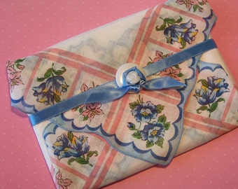 PINK and BLUE FLORAL Handkerchief Gift Set