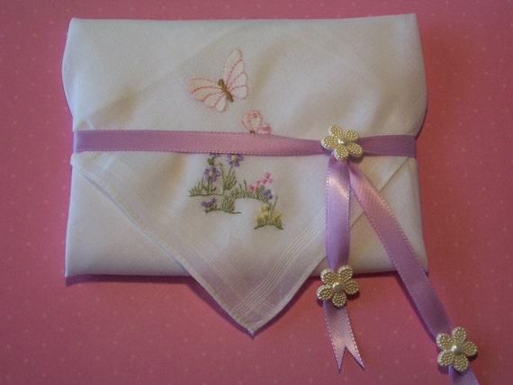 Embroidered Pink and Lavender Flowers Handkerchief Gift Set