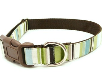 Cute Dog Collar in Soft Blue, Brown and Green Stripes - Country Club