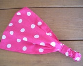 Womens Headband Fabric Headband Fashion Accessories Women Headscarf Headwrap in Hot Pink with White Polka dots