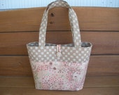 Tote Bag / fabric Handbag / Reversible Tote Bag in Beige with Japanese flower print / Ready to ship