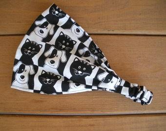 Girls Headband Fabric Headband Kids Headband Kids Fashion Accessories Girl Head Scarf Headwrap Black, Cats and Puppy print