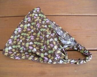 Womens Headband Fabric Headband Summer Fashion Accessories Women Headwrap Yoga Headband in Dark Brown with Multicolor leaves
