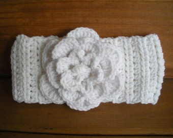 Womens Headband Crochet Headband Winter Fashion Accessories Women Headwrap Ear warmer in White with Crochet Flower - Choose color