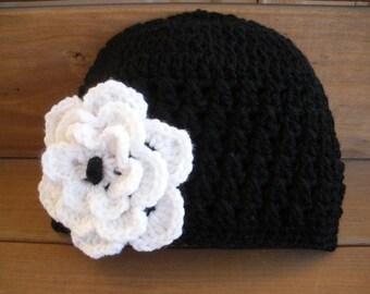 Womens Hat Crochet Hat Winter Fashion Accessories Women Beanie Hat Cloche in Black with White Crochet flower by creationsbyellyn