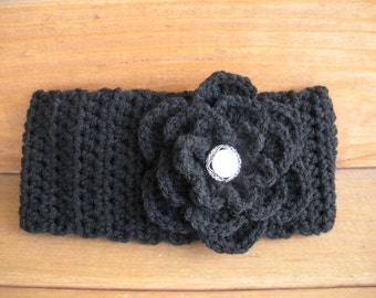 Womens Headband Crochet Headband Winter Fashion Accessories Women Earwarmrer Headwrap in Black with Crochet flower
