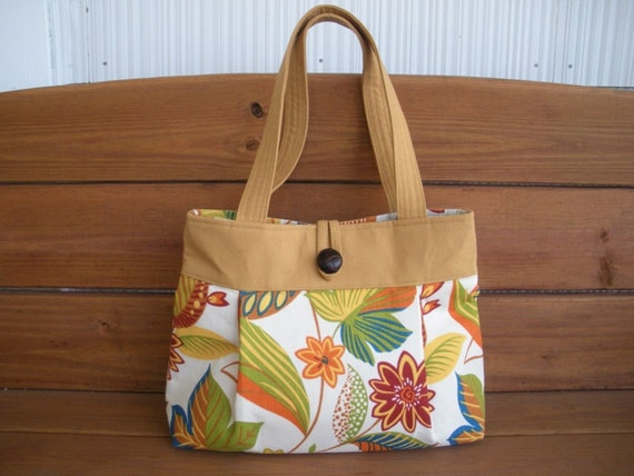 Fabric Handbag / Spring Fashion Purse Reversible Off white with Gold flower print / Ready to ship