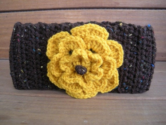 Crochet Headban Earwarmer Winter Fashion Headscarf in Brown with Gold Crochet flower / Ready to ship