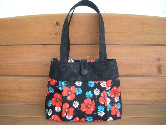 Fabric Handbag Purse Pleated Bag Reversible in Black with Red Flower print / Ready to ship