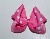 Pink and White Polka Dots Character Mouse Hair Bow