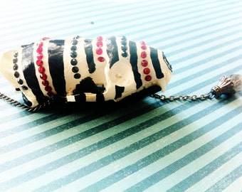 taxidermy skull necklace with stripes and swarovski crystals, On Sale - LE CIRQUE