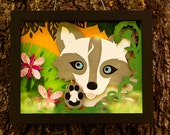 Springpaw the Fox 10 x 8.  Framed, hand cut paper sculpture.  Inspired by the cute arctic foxes that frolic amongst the flowers