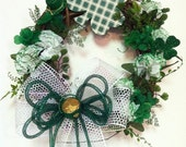 St Patricks Day Wreath Green St Pats Day Door Wreath Spring Wreath