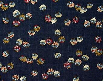 Japanese Fabric : Owls - 1/4 Yard