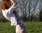 white stretch floral high waisted shorts hot pants roller disco bikini bottoms