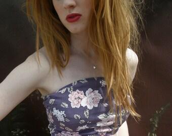 Lavender floral bandeau cropped top bikini top