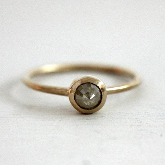 Icy yellow rose cut diamond engagement ring. 18K.  Little yellow bird. Aya.