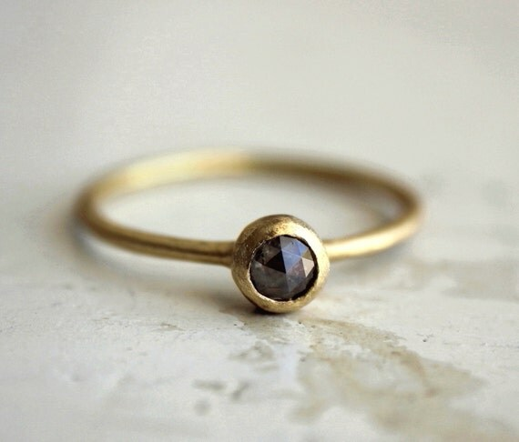 Grey diamond engagement ring An earthy sweet love by SundayOwl