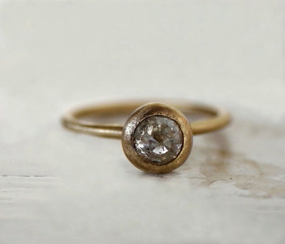 Rustic Diamond: Rustic Engagement Ring. Ice Grey Rose Cut Diamond Ring. Moon