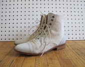 ivory leather ankle lace up boot w/ canvas contrast