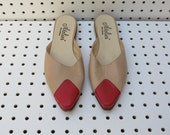 nude / flat leather mules / red tip / size 7.5