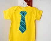 The Jackson - Made to Order yellow bodysuit with teal striped tie