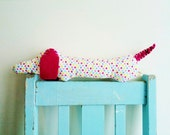 Dachshund, Wiener Dog, Sausage Dog, Plush, Soft Toy, Pink, Polka Dot