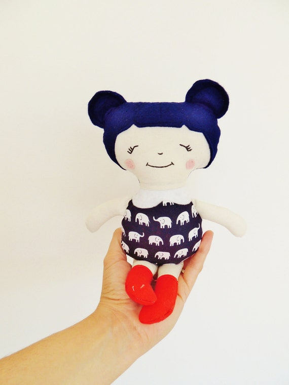 Cloth Doll, Little Sister Doll, Pocket Size Doll, Rag Doll,  Navy Blue, Red and White Doll