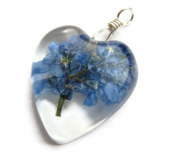 Dried Flower Resin Pendant, Pressed Flower Pendant, Forget Me Not Pendant, Real Flower Jewellery, Heart Pendant