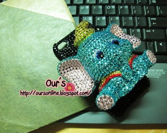 Charity Swarovski crystal 3D hello kitty elephant Minnie DoraemaniPhone case