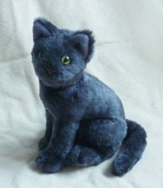realistic grey cat plush stuffed animal. Black Bedroom Furniture Sets. Home Design Ideas