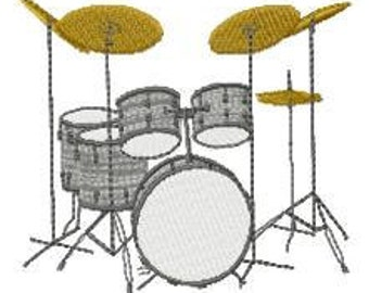 Drum Set Embroidery Design - Instant Download