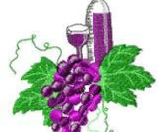 Wine and Grapes Embroidery Design - Instant Download