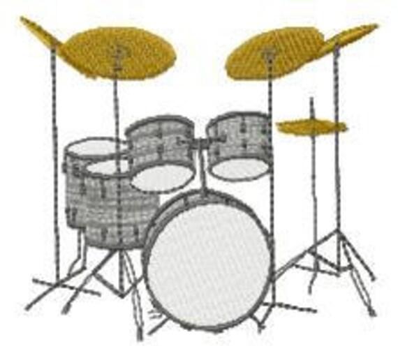 Drum Set Embroidery Design Instant Download