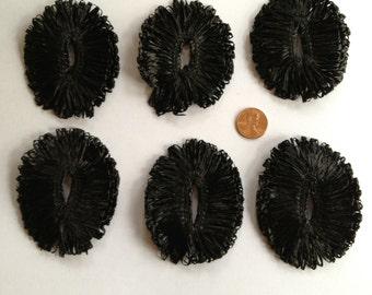Vintage Black Oval Raffia Embellishments