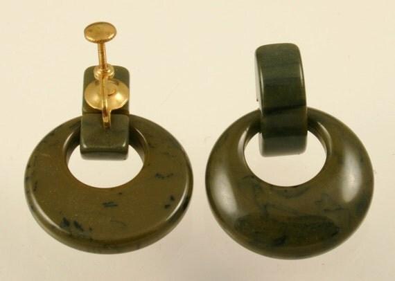 Items Similar To Vintage Bakelite Door Knocker Earrings On