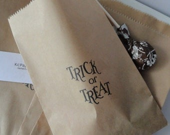 Halloween-Hand stamped Kraft Paper Bags-Trick or Treat candy and or gift sacks-Perfect for Halloween treats-Set of 10