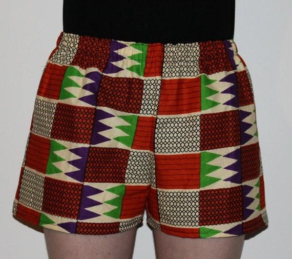 Party Shorts - Green Orange Purple African geometric print elastic waist summer shorts (Adult size Small)