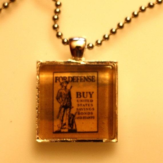 Square Glass Pendant Necklace - Vintage War Bonds Image from 1942