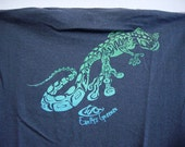 LIZARD KING - Organic Hemp Clothing Tee - Eco Friendly Tshirt - Tribal Gecko Green Blue Fade on Charcoal T shirt - Unisex Adult EXtRA LARGE