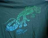 LIZARD KING Bamboo Organic Clothing Tee - Tattoo Tribal Gecko Green Blue Fade on Moss Green T Shirt - Eco T-Shirt - Unisex Adult  SMALL