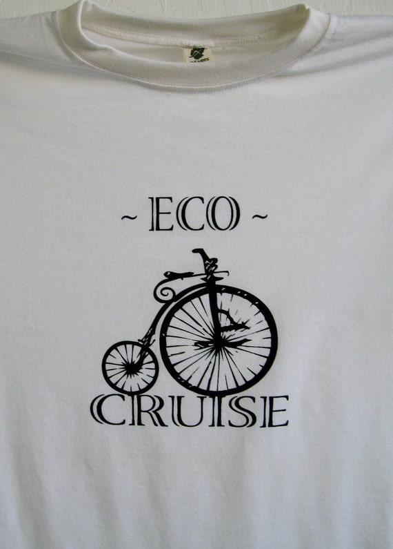 Eco Cruise / Cycling Bike Tee - Bamboo Clothing -Organic Eco Friendly Tee shirt -MADE In USA-  Mens / Unisex  LARGE