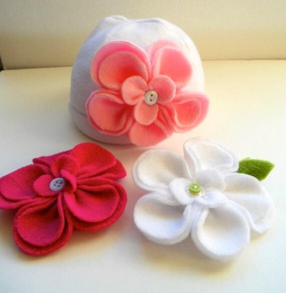 Baby Girl Boutique Fleece hat with 3 interchangeable flowers