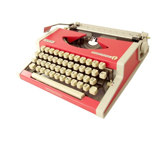 Vintage Typewriter Olympia, Coral and Cream
