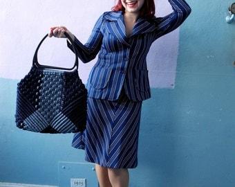 Vtg 60s 70s Skirt Suit Set / Navy Sailor Two Piece Outfit / Chevron Stripe Skirt