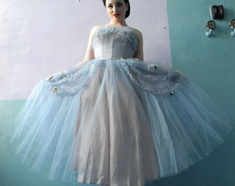 Vtg 50s Party Gown / Mad Men / Baby Blue Tulle Dress