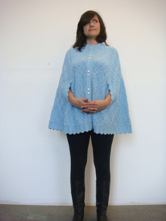 VTG 60s baby blue Crowley's knit sweater cape capelet /  Summer Shrug