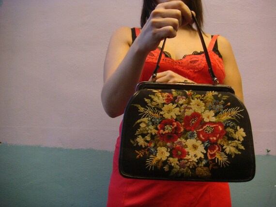 RESERVED Vtg 50s Needlepoint Handbag / Floral Tapestry / Double Sided