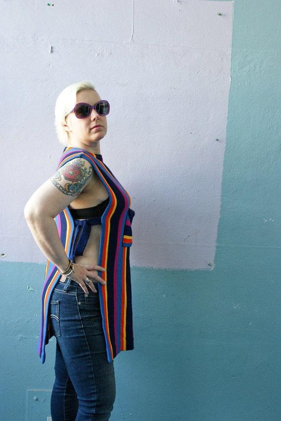 Vtg 60s Sweater Vest / Hudsons Detroit / Hippie Rainbow Stripes
