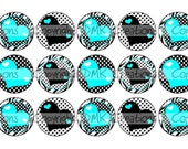 Teal Heart Zebra Add Your Own Text Bottle Cap Images 4x6 Printable Bottlecap Collage INSTANT DOWNLOAD